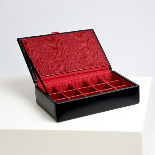 70907 Dulwich Designs Black 15pc cufflink box with Red lining